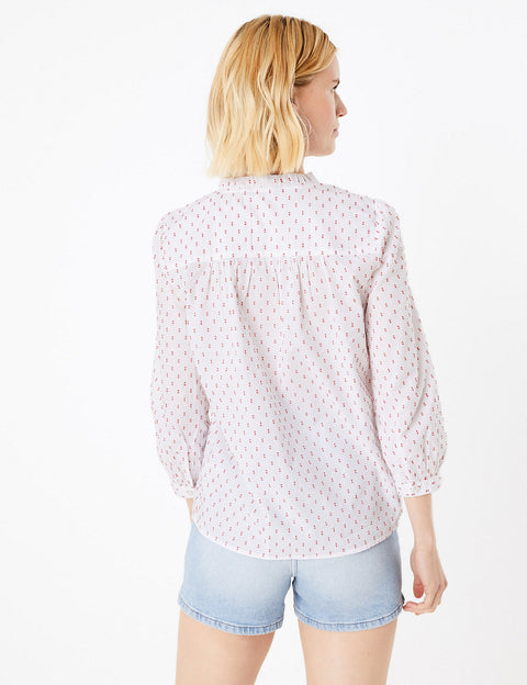 Cotton Printed Long Sleeve Blouse