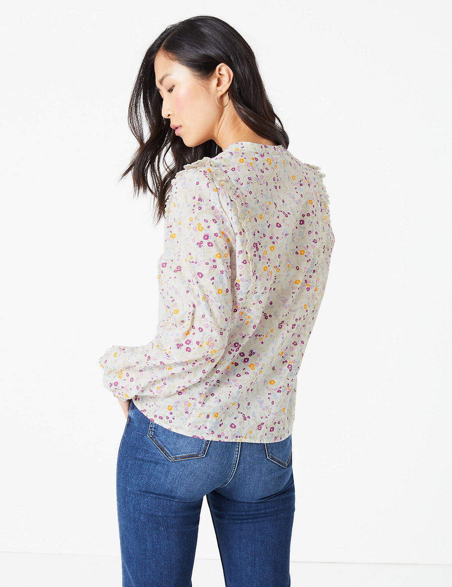Pure Cotton Floral Broderie Ruffle Blouse