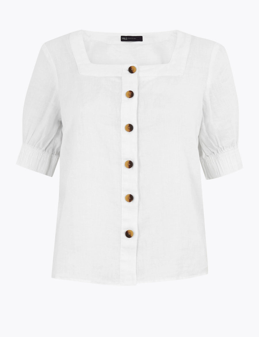 Pure Linen Square Neck Button Detail Blouse