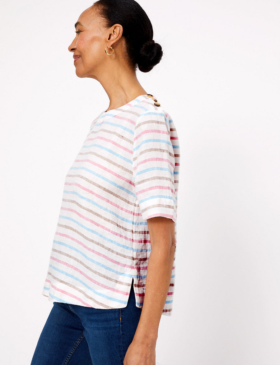 Pure Linen Striped Short Sleeve Top