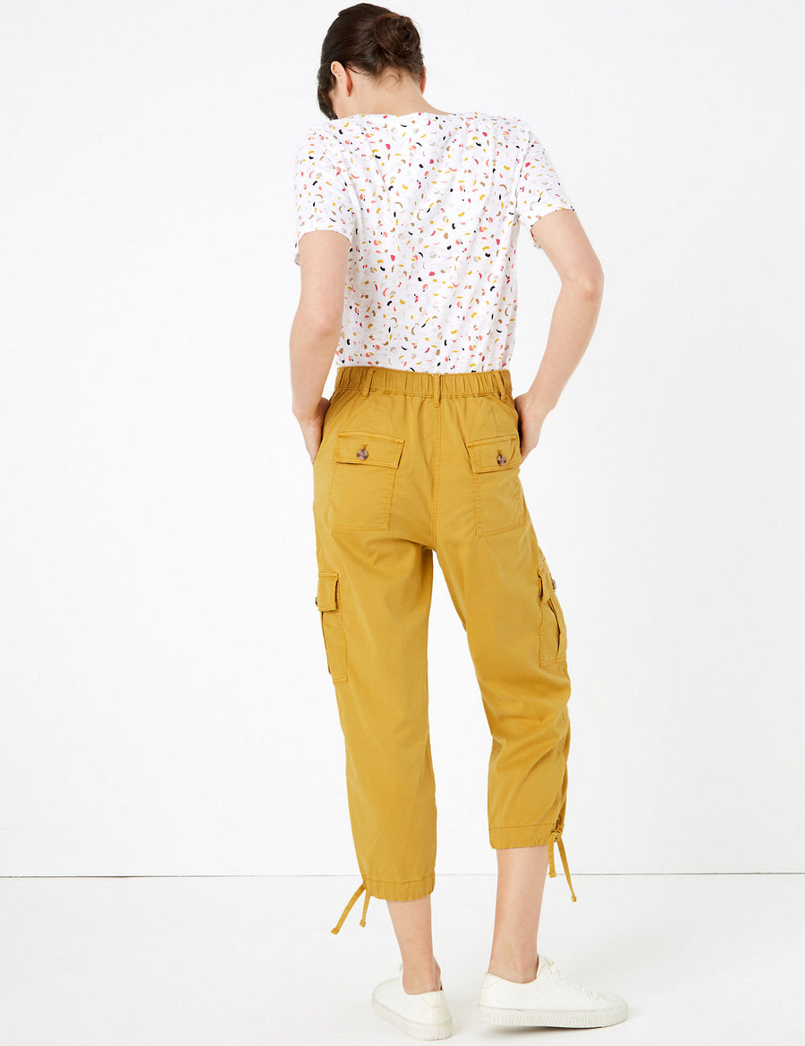 Tencel™ Cargo Tapered Cropped Trousers