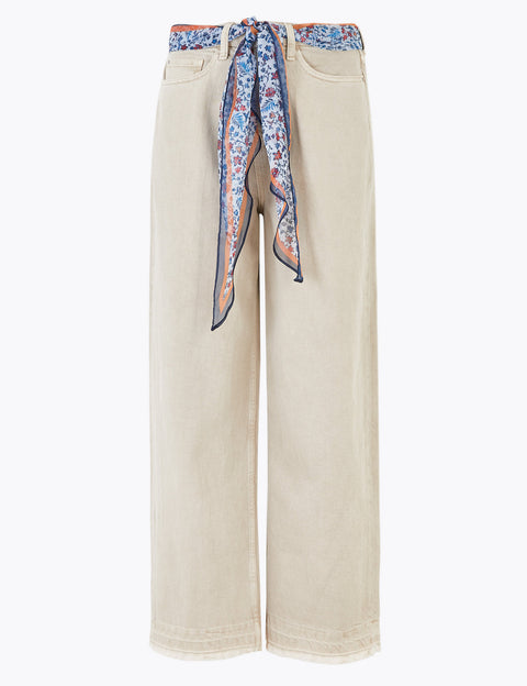 High Waisted Wide Leg Jeans with Scarf Belt