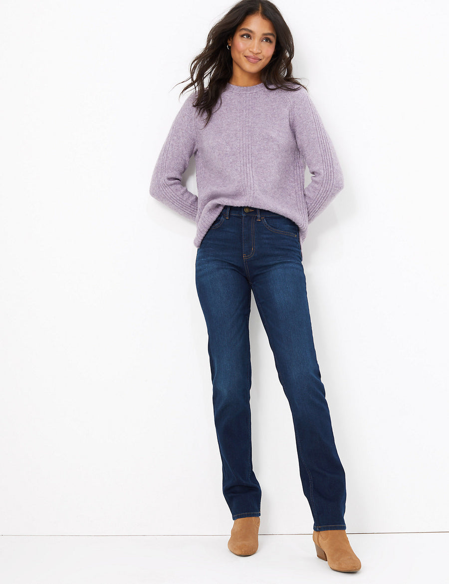 Sienna Button Front Straight Fit Jeans