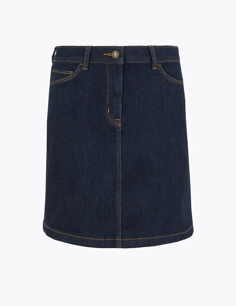Denim A-Line Mini Skirt
