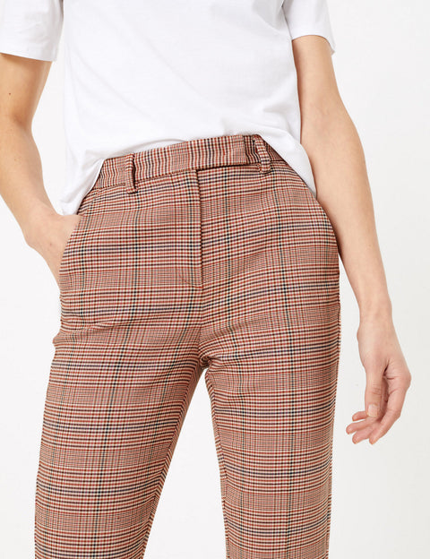 Mia Slim Checked Ankle Grazer Trousers