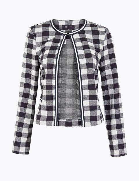 Jersey Gingham Edge To Edge Blazer
