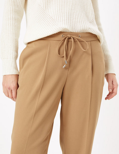 Drawstring Tapered Ankle Grazer Trousers