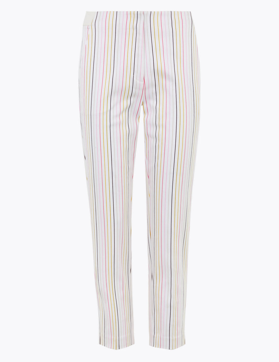 Mia Slim Cotton Striped Cropped Trousers