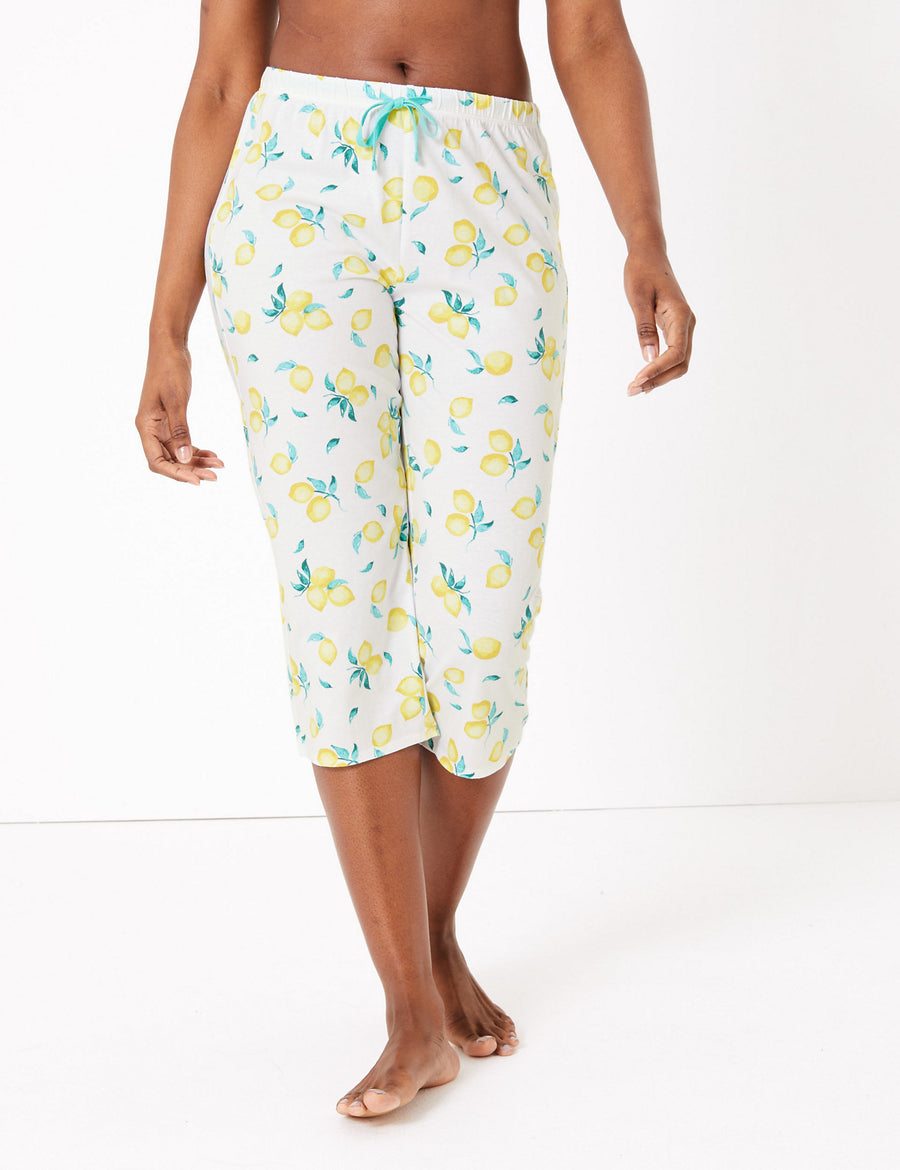Cotton Lemon Print Cropped Pyjama Bottoms