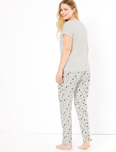 Heart Print Slogan Pyjama Set