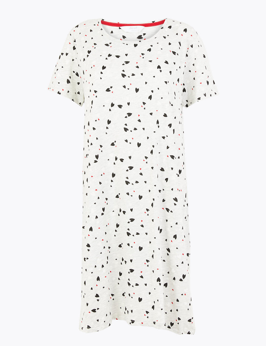 Heart Print Short Nightdress