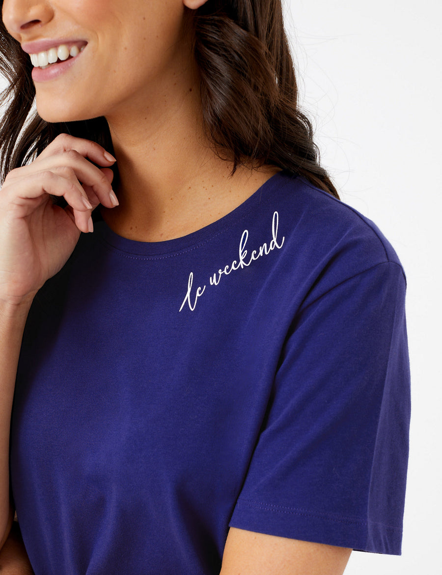 Cotton Le Weekend Slogan Pyjama Top