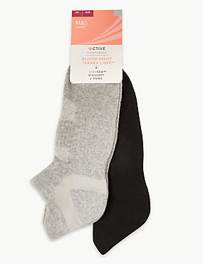 2 Pair Pack Blister Resist Trainer Liner Socks