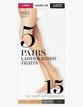5 Pack 15 Denier Ladder Resist Matt Tights
