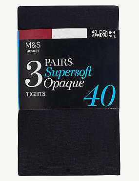 3 Pack 40 Denier Supersoft Opaque Tights