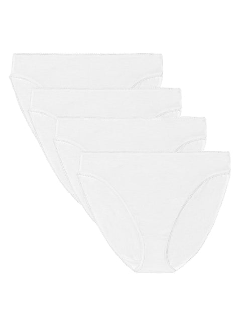 4 Pack Pure Cotton High Leg Knickers