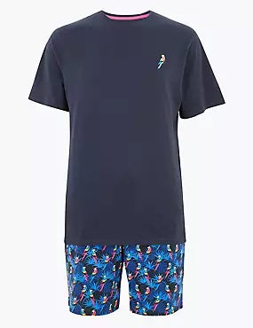 Pure Cotton Parrot Print Pyjama Set