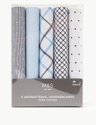 5 Pack Pure Cotton Handkerchiefs