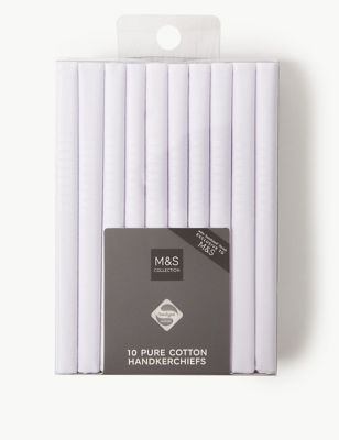 10 Pack Pure Cotton Handkerchiefs with Sanitized Finish