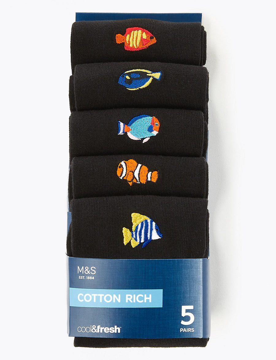 5 Pack Cool & Fresh™ Embroidered Fish Socks