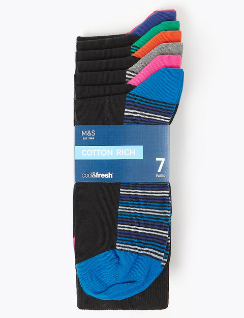 7 Pack Cool & Fresh™ Striped Sole Socks
