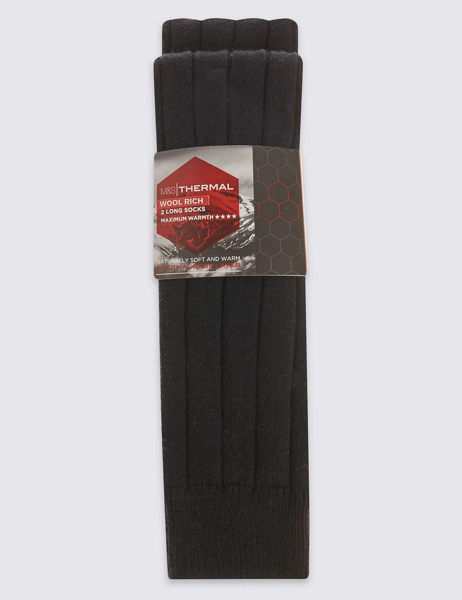 2 Pack Long Wool Blend Thermal Socks