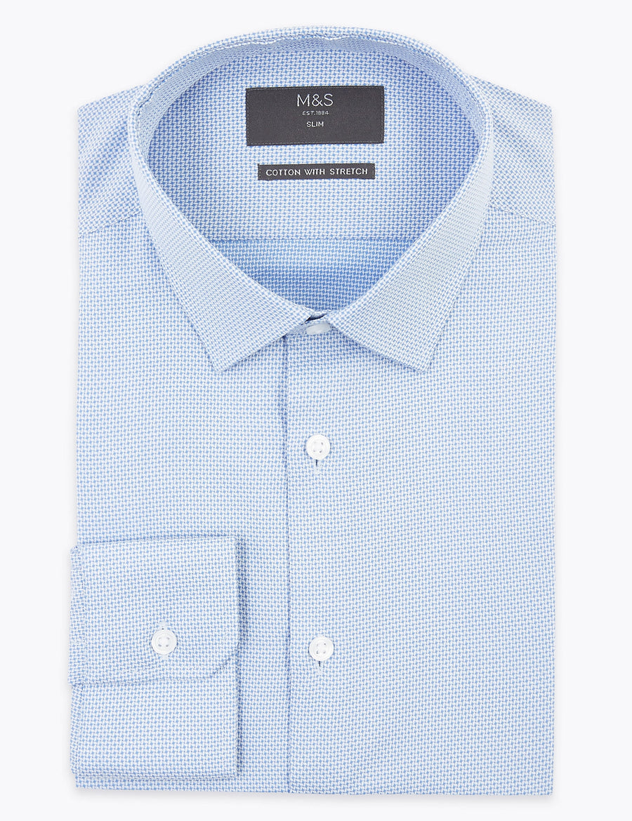 Slim Fit Easy Iron Shirt with Stretch