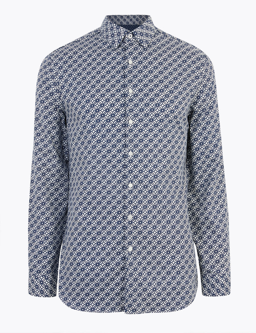 Slim Fit Pure Cotton Printed Shirt
