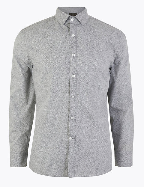 Skinny Fit Printed Easy Iron Shirt