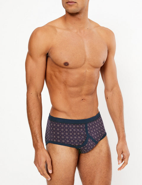 3 Pack Cotton Geometric Print Briefs