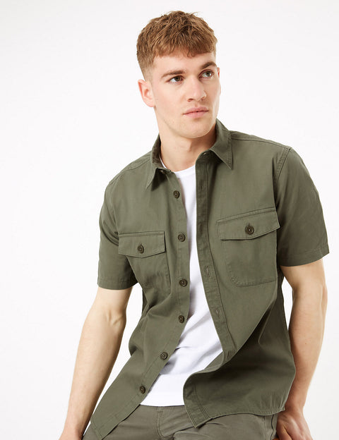 Pure Cotton Utility Overshirt
