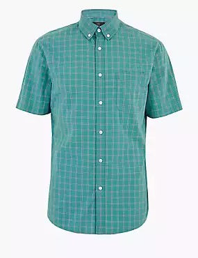 Laundered Cotton Regular Fit Checked Shirt