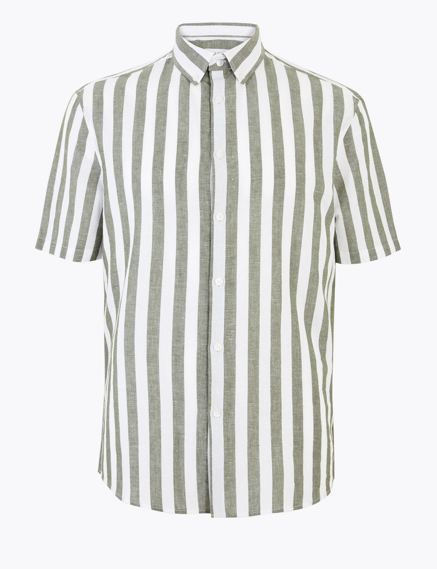 Easy Iron Linen Striped Shirt