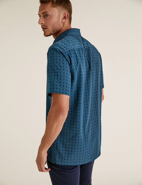 Pure Cotton Geometric Easy Iron Shirt