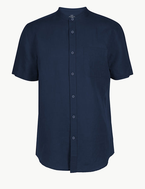 Linen Rich Grandad Shirt with Pocket