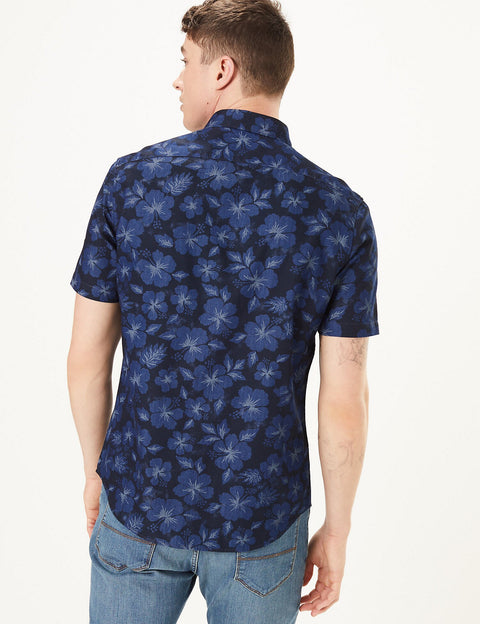 Pure Cotton Denim Floral Shirt