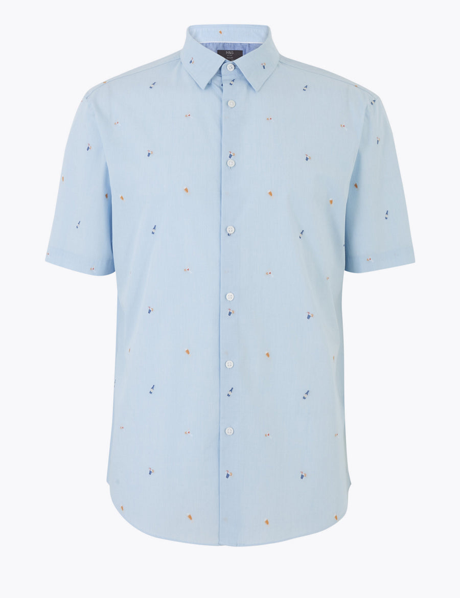 Pure Cotton Cocktail Print Shirt