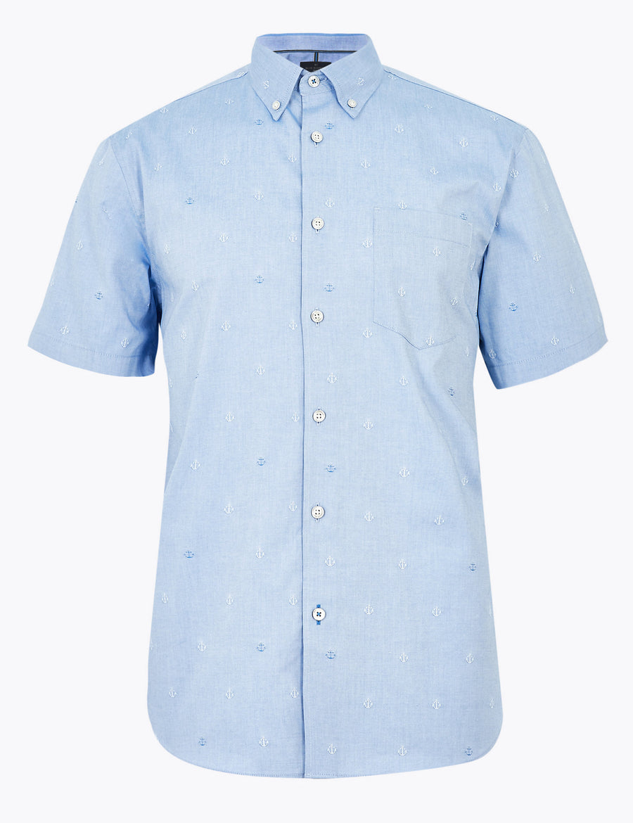 Pure Cotton Anchor Print Shirt