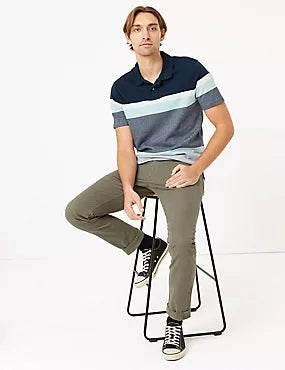 Pure Cotton Striped Knitted Polo Shirt