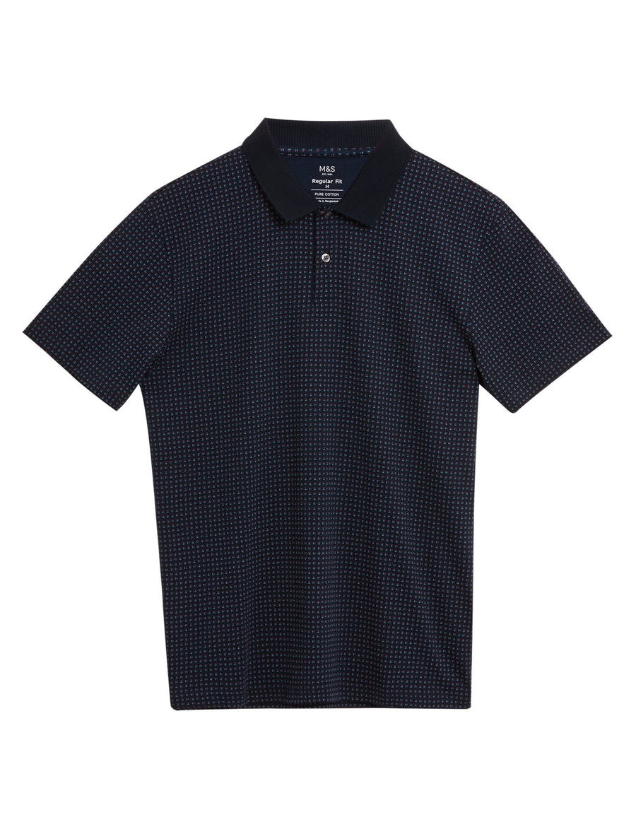 Pure Cotton Geometric Print Polo Shirt