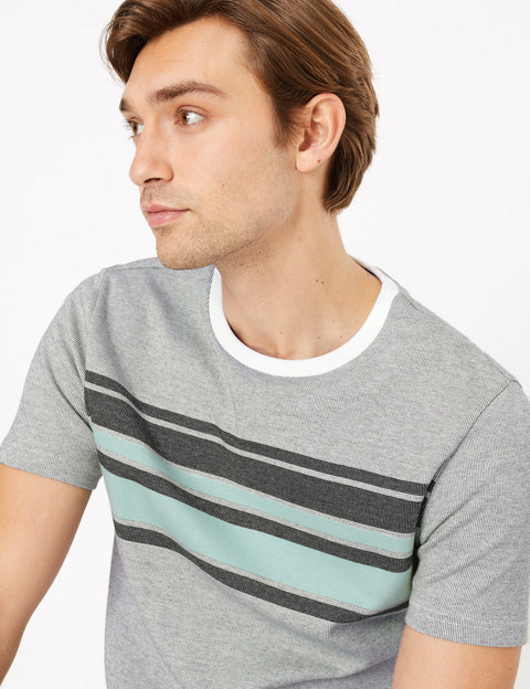 Pure Cotton Chest Stripe Knitted T-Shirt