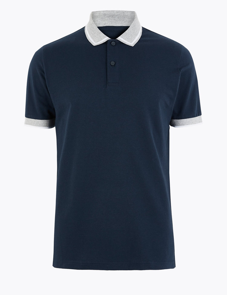 Cotton Contrast Collar Polo Shirt