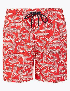 Quick Dry Crocodile Print Swim Shorts
