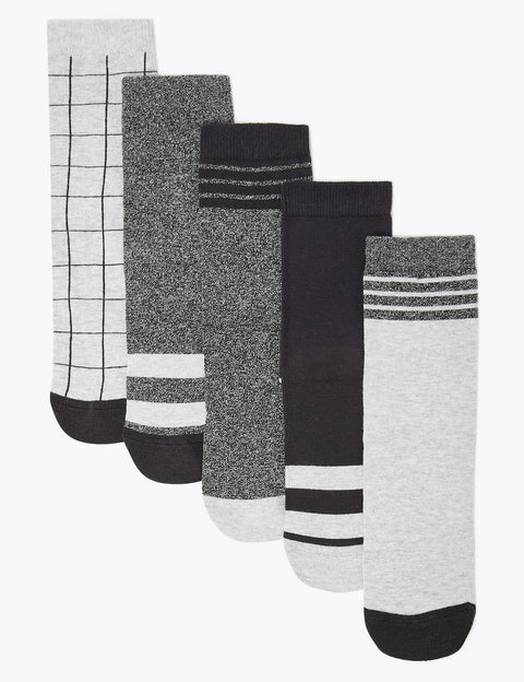 5 Pack of Cotton Rich Monochrome Socks