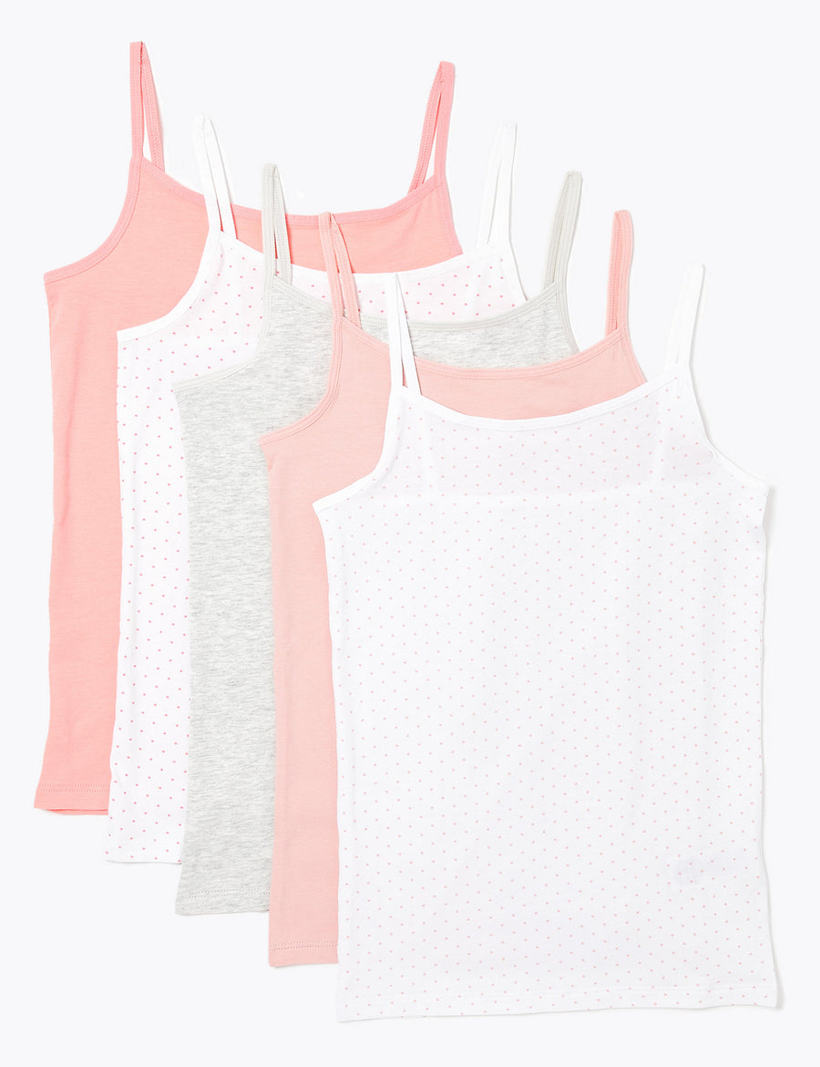 5 Pack Cotton Spotted Camisole Vests