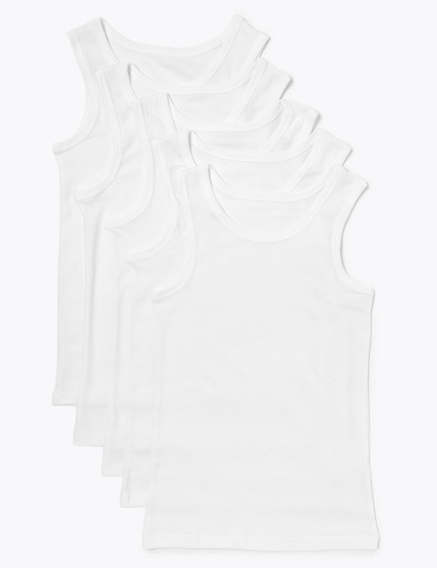 5 Pack Pure Cotton Vests