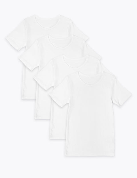 4 Pack Pure Cotton Short Sleeve Vests