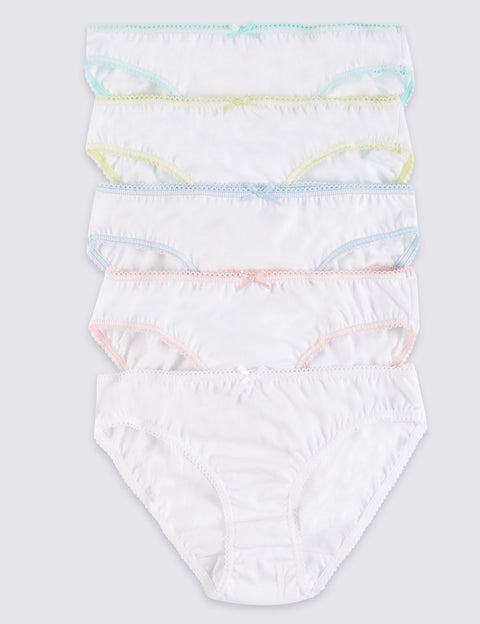 5 Pack Pure Cotton Bikini Knickers