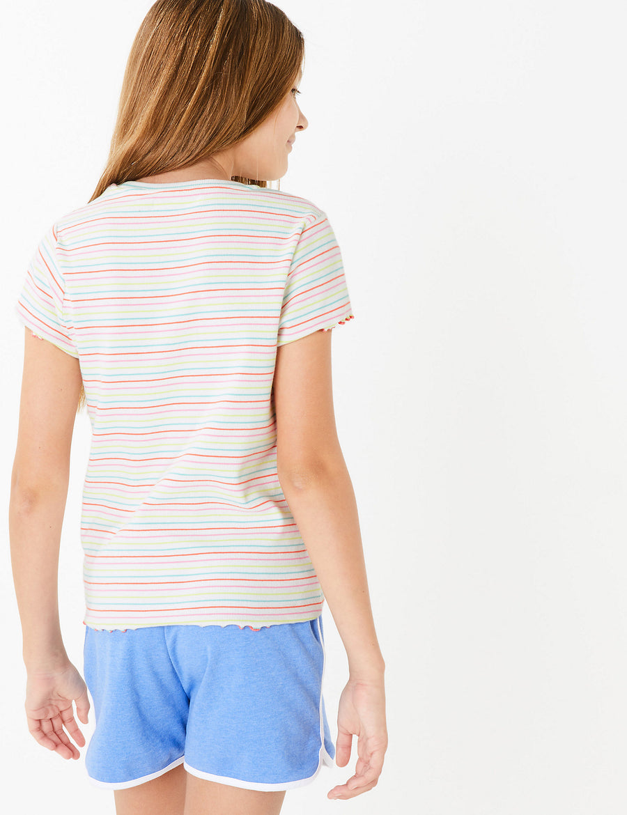 Cotton Rainbow Striped T-Shirt