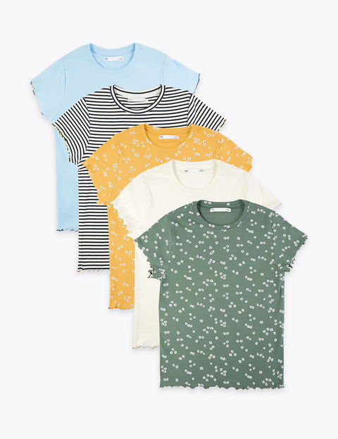 5 Pack Floral & Striped T-Shirts